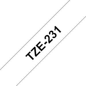 Ruban TZe231, 12mm Noir sur fond Blanc, Laminé, 8M