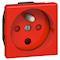 Prise 2P+T à détrompage Mosaic avec connexion par bornes à vis 2 modules - rouge