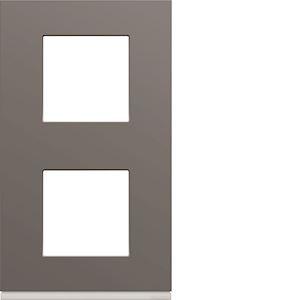 Plaque gallery plastique peint 2 postes verticale 71mm taupe