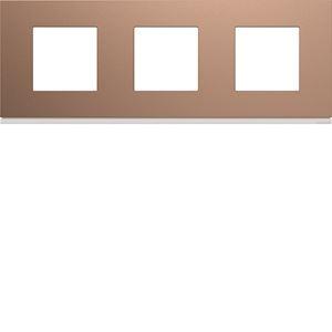 Plaque gallery plastique peint 3 postes horizontale 71mm rosé