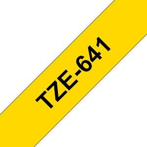 Ruban TZe641, 18mm Noir sur fond Jaune, Laminé, 8M