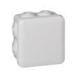 Bte carrée 80x80x45 étanche Plexo Gris - embout (7) -IP55/IK07- 650°C