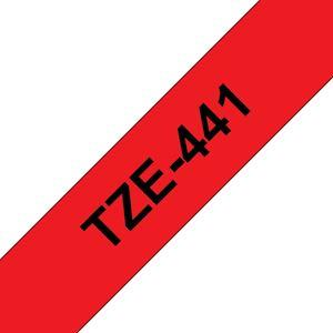 Ruban TZe441, 18mm Noir sur fond Rouge, Laminé, 8M