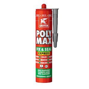 Poly Max Fix&Seal Express gris, cart 425gr, mastic et colle sans solvants