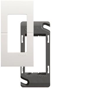 Systo plaque+support 1 module Blanc
