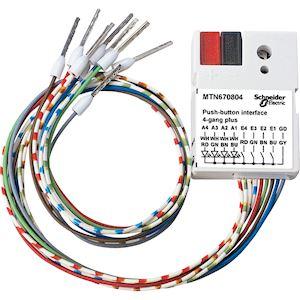 KNX - module d'entrées binaires à encastrer - 4 entrées 4 sorties LED
