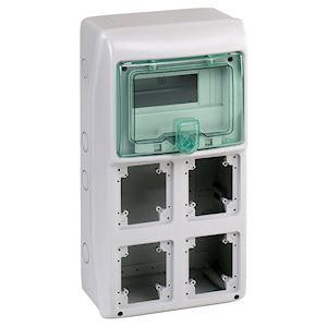 Kaedra - coffret - pour prises - 236 x 460 mm - 8 modules - 4 ouvertures