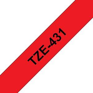 Ruban TZe431, 12mm Noir sur fond Rouge, Laminé, 8M