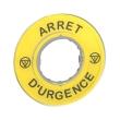 Harmony - étiquette circulaire jaune 3D - D=60 - Arrêt Urgence