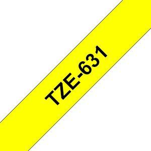 Ruban TZe631, 12mm Noir sur fond Jaune, Laminé, 8M