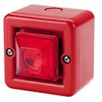 Mini sirène 100dB feu LED 230Vca optique Rouge IP66