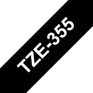 Ruban TZe355, 24mm Blanc sur fond Noir, Laminé, 8M
