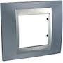 Unica Top - plaque de finition - 1 poste 2 mod. - gris métal liseré alu