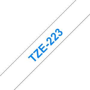 Ruban TZe223, 9mm Bleu sur fond Blanc, Laminé, 8M