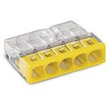 Borne Wago 2273 - 5 x 0,5 à 2,5mm² Transparent / Jaune
