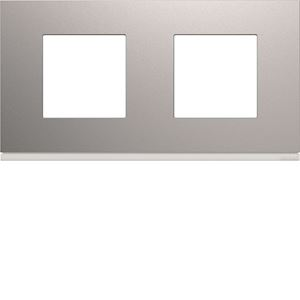 Plaque gallery plastique peint 2 postes horizontale 71mm titane
