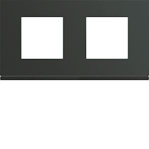 Plaque gallery plastique peint 2 postes horizontale 71mm anthracite