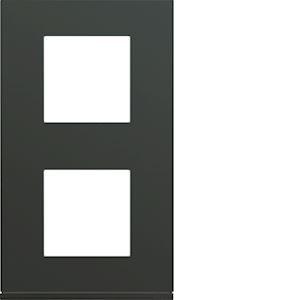 Plaque gallery plastique peint 2 postes verticale 71mm anthracite