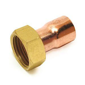 Raccord 2 pièces droit  F-F à joint plat, douille cuivre-écrou 14-1/2