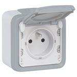Prise 2P+T avec éclips de protection 16A Plexo complet IP55 saillie - gris