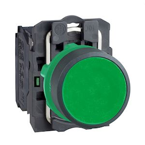 Harmony bouton-poussoir vert D=22 - à impulsion affleurant - 1F