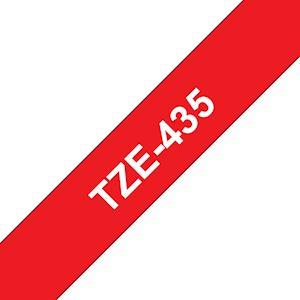 Ruban TZe435, 12mm Blanc sur fond Rouge, Laminé, 8M