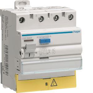 Interrupteur différentiel 3P+N 40A 30mA type AC à bornes décalées