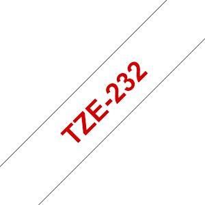 Ruban TZe232, 12mm Red sur fond Blanc, Laminé, 8M