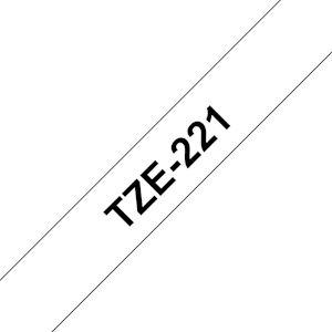 Ruban TZe221, 9mm Noir sur fond Blanc, Laminé, 8M