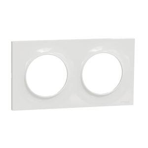 Odace Styl, plaque Blanc 2 postes horizontaux ou verticaux entraxe 71mm