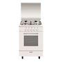 Cuisinière Alpha 53 x 50 cm blanche/plan de cuisson inox - Four tout gaz émail l