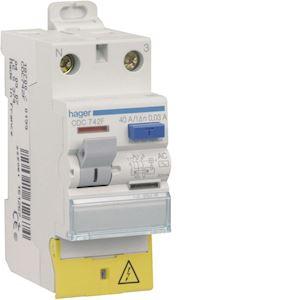 Interrupteur différentiel 2P 40A 30mA type AC à bornes décalées