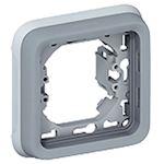 Support plaque 1 poste Plexo composable IP55 - gris