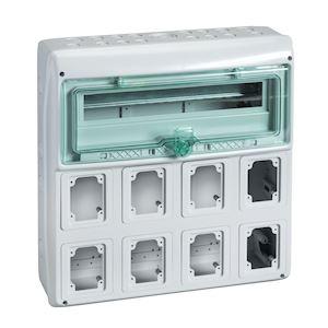 Kaedra - coffret - pour prises - 448 x 460 mm - 19 modules - 8 ouvertures
