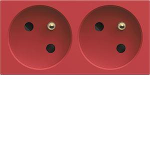 Prise de courant double speciale goulotte gallery 2P+T 16A rouge
