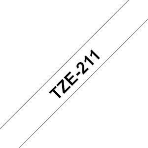 Ruban TZe211, 6mm Noir sur fond Blanc, Laminé, 8M