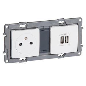 NILOE PRISE 2P+T + CHARGEUR 2 USB A+A 2.4A 12W 2 POSTES BLANC