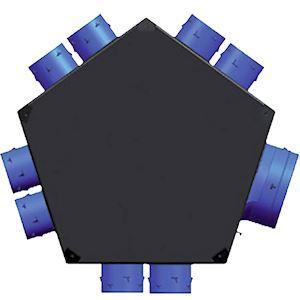 Plénum iso insufflation 8 piquages D 80 mm, 1 raccord D 125 mm et D 150/160 mm