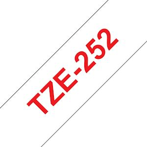 Ruban TZe252, 24mm Red sur fond Blanc, Laminé, 8M