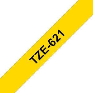 Ruban TZe621, 9mm Noir sur fond Jaune, Laminé, 8M