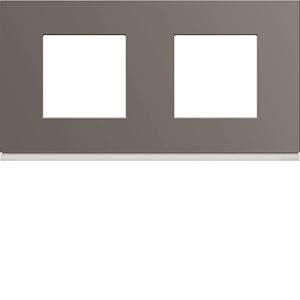 Plaque gallery plastique peint 2 postes horizontale 71mm taupe