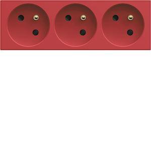 Prise de courant triple speciale goulotte gallery 2P+T 16A rouge