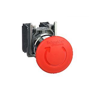 Harmony XB4 - bouton arrêt urgence - D=40 - pousser tourner - rouge - 1O+1F - vi