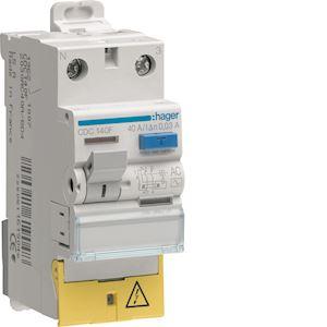 Interrupteur différentiel 1P+N 40A 30mA type AC à bornes décalées