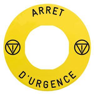 Harmony étiquette circulaire D=60mm jaune logo EN13850 ARRET D URGENCE pr ZBZ360
