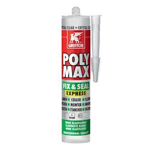 Poly Max Fix&Seal Express crystal, cart 300gr, mastic et colle sans solvants
