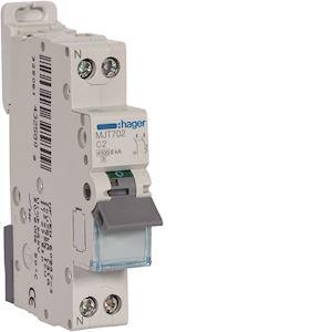 Disjoncteur 1P+N 4.5-6kA courbe C - 2A 1 module