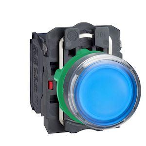 Harmony bt-pous lumineux bleu D=22 - impulsion - 24V - 1O+1F