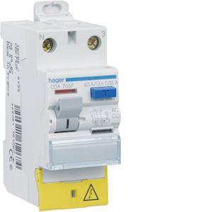 Interrupteur différentiel 2P 63A 30mA type A à bornes décalées