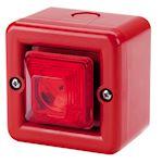 Mini sirène 104dB feu flash 0.5J 230Vca optique Rouge IP66